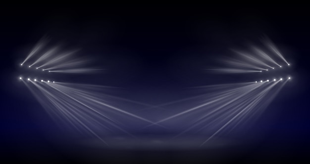 Luce per illuminazione scena, effetto luce flash trasparente, lente speciale per luce solare. lampi luminosi e illuminazione con faretti. illuminazione spot del palcoscenico.