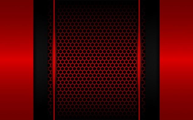 Luce rossa astratta con sfondo esagonale