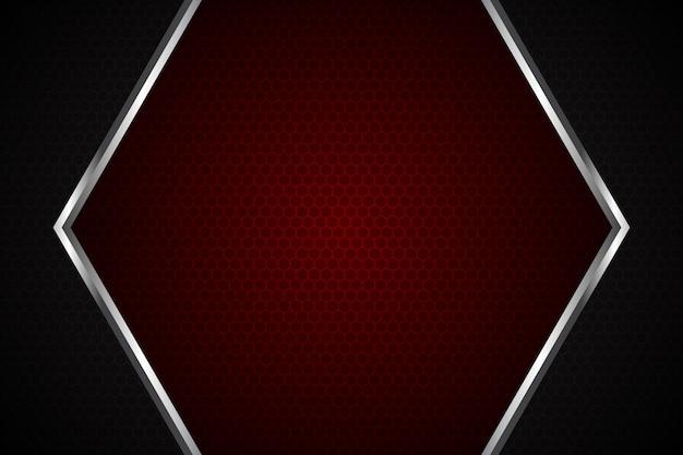 Luce rossa astratta sul fondo futuristico di lusso moderno della maglia quadrata grigio scuro