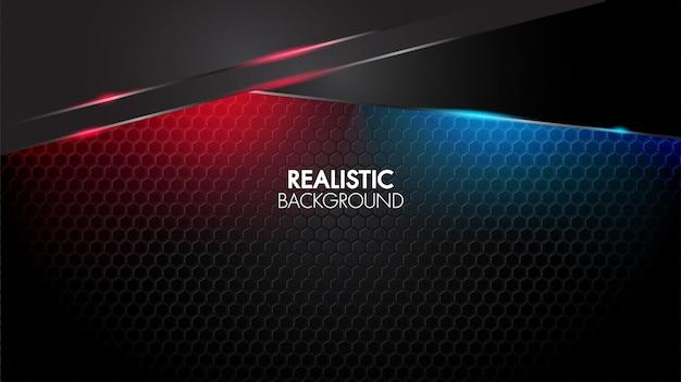 Luce rossa e blu lucida futuristica elegante nera del fondo geometrico astratto nero