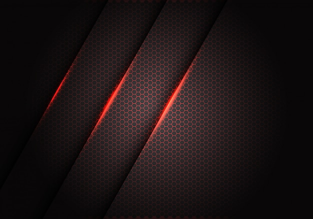 Luce rossa sul reticolo esagonale della maglia nella priorità bassa metallica grigia scura.