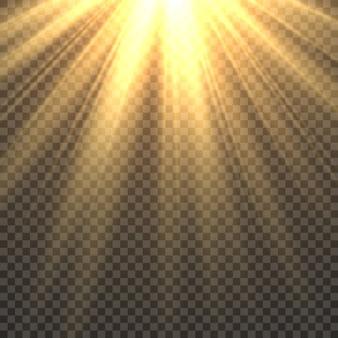 Luce solare isolata. raggi di sole dorato effetto luce del sole splendore. illustrazione ardente del sole di tramonto dei fasci luminosi gialli