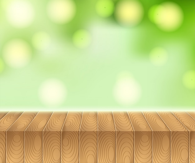 Luce solare sul cielo estivo con tavolo da picnic in legno