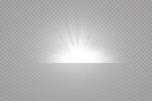 Luce solare trasparente scena di vettore illuminata da riflettori. effetto luce su sfondo trasparente
