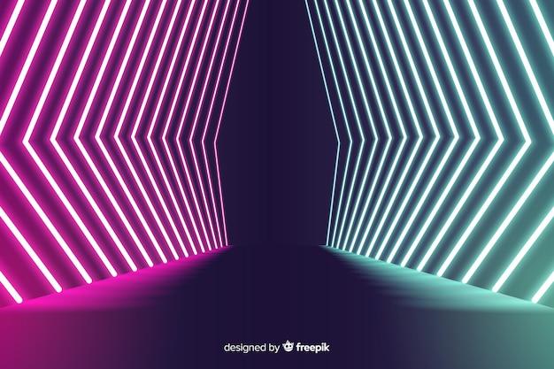 Luci al neon a forma geometrica in scena sullo sfondo