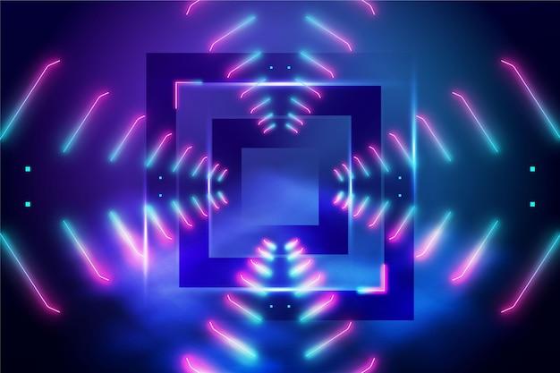 Luci al neon astratte con quadrato sullo sfondo centrale