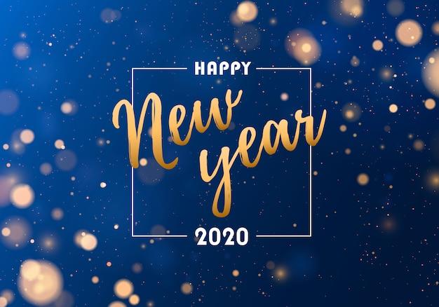 Luci blu e dorate festive. felice anno nuovo 2020 sullo sfondo