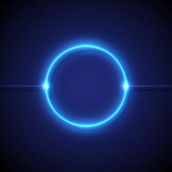 Luci circolari al neon blu su uno sfondo scuro
