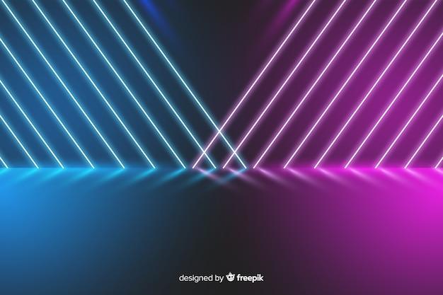 Luci colorate al neon in scena sullo sfondo