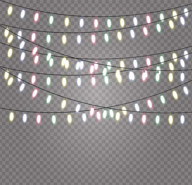 Luci della stringa della ghirlanda di natale isolate. luci incandescenti per natale.