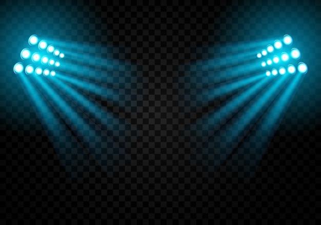 Luci dello stadio su uno sfondo scuro