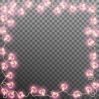 Luci di ghirlanda di cuori cara su sfondo trasparente. e include anche