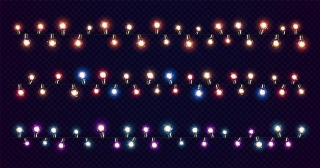 Luci di natale. ghirlande natalizie luminose di lampadine a led