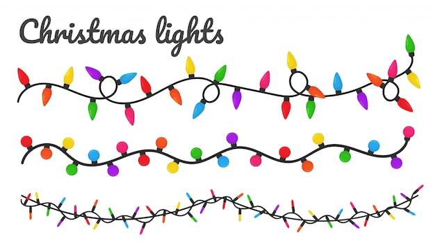 Luci di natale. lampadine decorative colorate per la decorazione a una festa di natale.