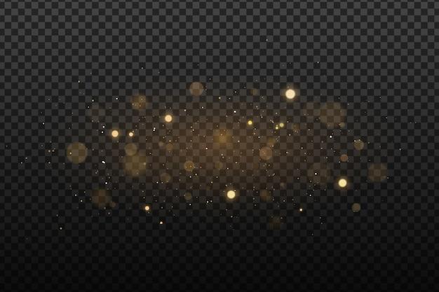Luci dorate astratte su uno sfondo trasparente scuro. riflessi con particelle luminose volanti. effetto leggero.