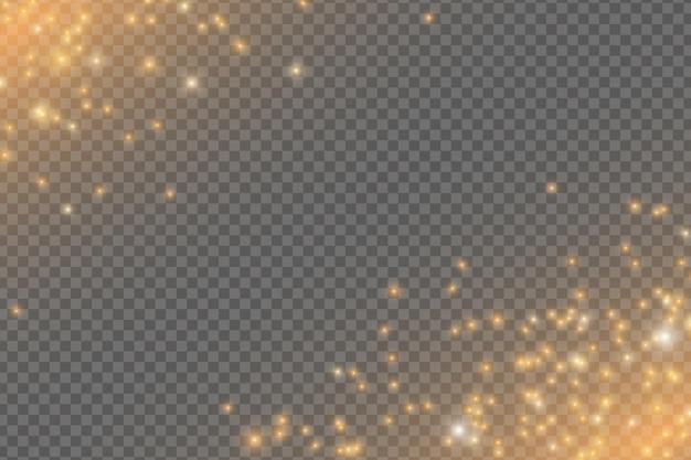 Luci dorate che cadono. magica polvere dorata e riflessi isolati su sfondo trasparente. polvere di stelle di natale.