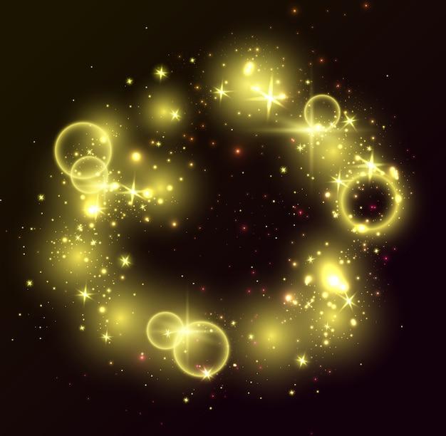 Luci dorate, sfondo nero. elementi lucidi brillanti, stelle brillanti, anelli