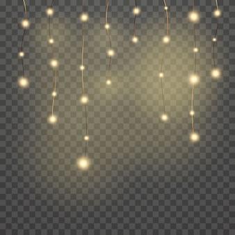 Luci e scintille. luci dorate astratte isolate su trasparente