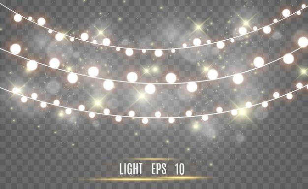Luci incandescenti. ghirlande, luci meravigliose.