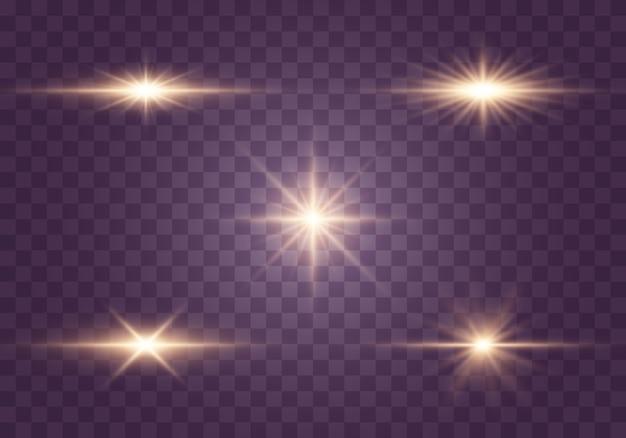 Luci incandescenti, stelle. particelle di polvere magica scintillante
