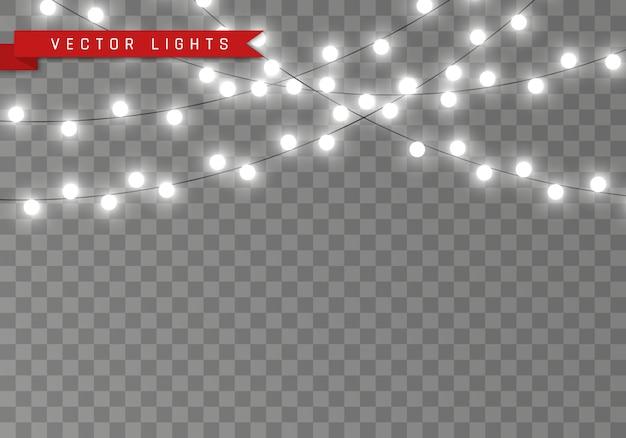 Luci isolate su sfondo trasparente. ghirlande per carte, banner, poster, web design. set di bianco incandescente ghirlanda led giallo lampada al neon illustrazione