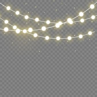 Luci realistiche isolati elementi realistici. luci incandescenti per la lampada al neon xmas holiday.led