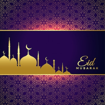 Lucido eid mubarak holiday greeting with golden mosque