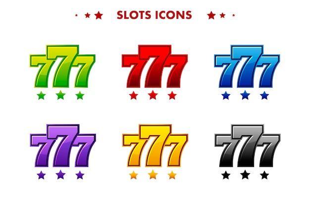 Lucido simbolo del jackpot 777, icona app colorata. oggetti per asset game e gametwist