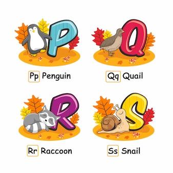 Lumaca di procione delle quaglie del pinguino di autumn animals alphabet