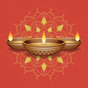 Lume di candela sul mandala rosso