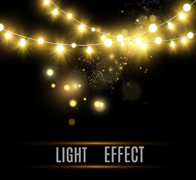 Luminose, belle luci, elementi di design. luci incandescenti per il design