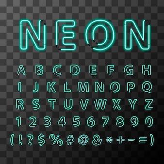 Luminose lettere al neon realistico, carattere alfabeto latino completo