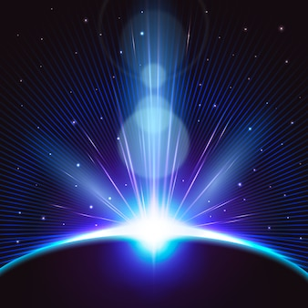 Luminoso effetto luce alba della terra