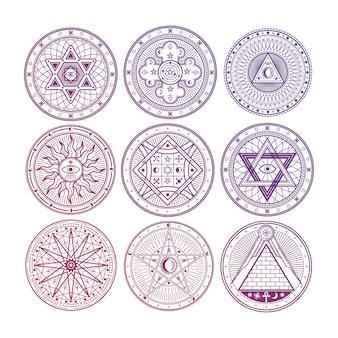 Luminoso mistero, stregoneria, occulto, alchimia, simboli mistici esoterici isolati su sfondo bianco