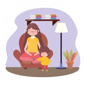 Lun e figlio nel soggiorno felice festa del ringraziamento