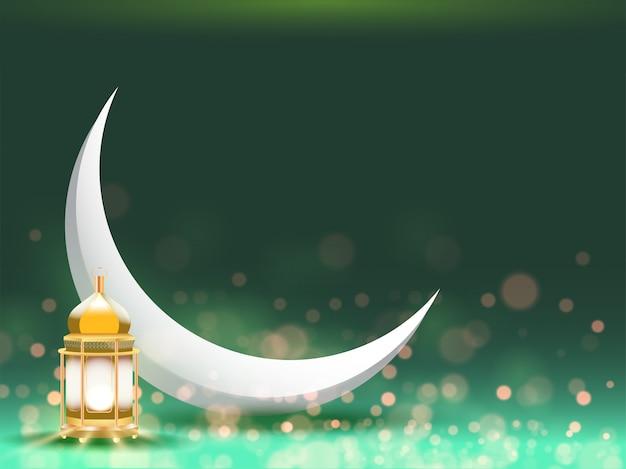 Luna a mezzaluna e lanterna illuminata dorata su effetto bokeh verde