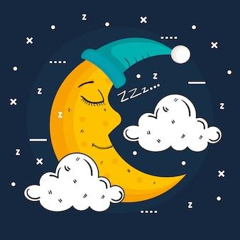 Luna addormentata nel berretto da notte isolato su sfondo blu