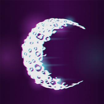 Luna con effetto glitch