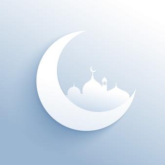Luna con la silhouette della moschea sfondo pulito per la festa islamica