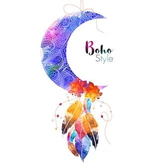 Luna crescente ornamentale floreale con fiori e piume di acquerello, elemento etnico di stile creativo boho.