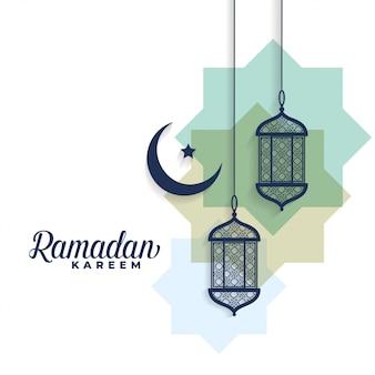 Luna di ramadan kareem e sfondo di lampade arabe