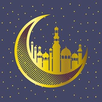 Luna dorata con edifici della moschea