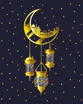 Luna dorata con edifici moschea e lampade sospese