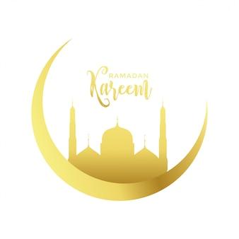 Luna dorata e design moschea per la stagione di ramadan kareem