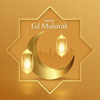 Luna e lanterne realistiche felici eid mubarak