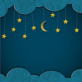 Luna e stelle. carta-arte vettoriale