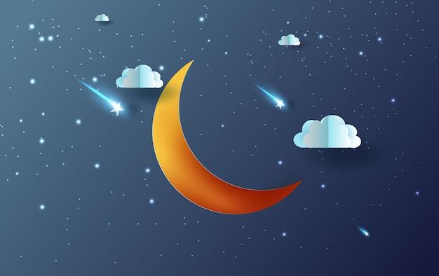 Luna e stelle con cielo notturno mistico