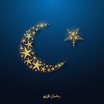 Luna e stelle dorate crescenti su fondo blu brillante.