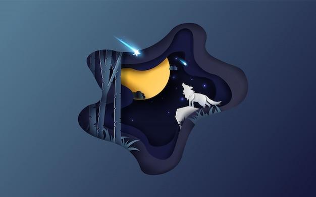 Luna piena d'autunno con il lupo che ulula di notte