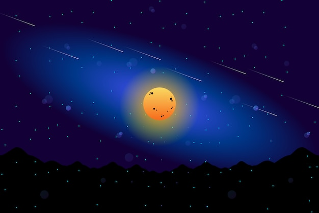 Luna piena di paesaggio con l'illustrazione stellata del cielo notturno